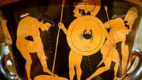 "Greek Vase Painting-""Death of Sarpedon"""